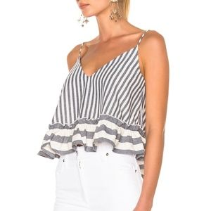 N//NICHOLAS SANTORINI STRIPED SLEEVEL LINEN BLOUSE